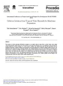 ScienceDirect Cellulose Isolation from Tropical Water ...
