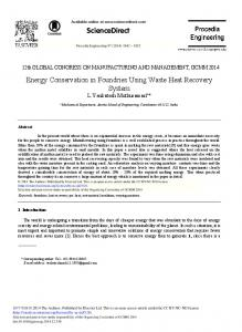 ScienceDirect Energy Conservation in Foundries