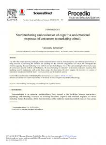 ScienceDirect Neuromarketing and evaluation of