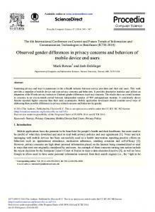 ScienceDirect Observed gender differences in privacy