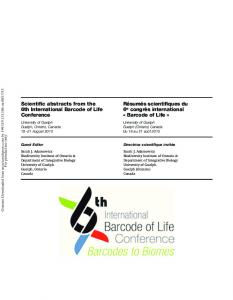 Scientific abstracts from the 6th International Barcode ...