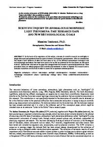 Scientific Inquiry on anomalous atmospheric Light Phenomena