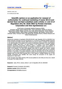 Scientific opinion on an application for renewal ... - Wiley Online Library