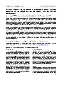 Scientific research in the quality of working-life (QWL): Generic ...