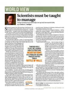 Scientists must be taught to manage