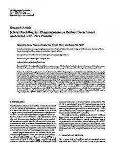 Scleral Buckling for Rhegmatogenous Retinal Detachment Associated ...