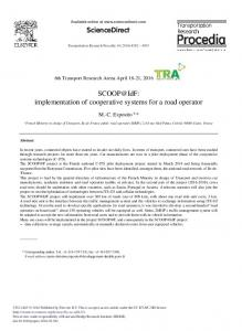 SCOOP@IdF: Implementation of Cooperative Systems ... - ScienceDirect