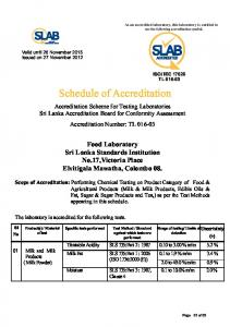 Scope - Sri Lanka Accreditation Board