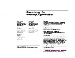 Score design for meaningful gamification - Gamification Research ...