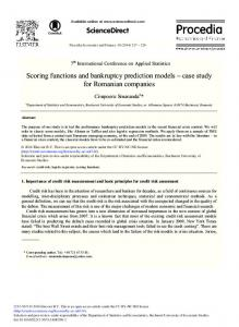 Scoring Functions and Bankruptcy Prediction Models - ScienceDirect