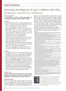 Screening and diagnosis of type 2 diabetes with HbA