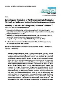 Screening and Evaluation of Polyhydroxybutyrate-Producing ... - MDPI