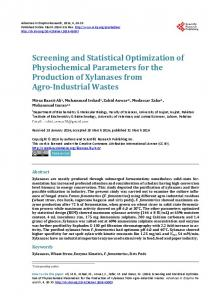 Screening and Statistical Optimization of Physiochemical Parameters
