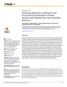 Screening, Expression, Purification and Functional ... - PLOS