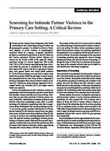 Screening for Intimate Partner Violence in the