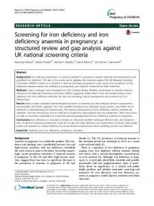 Screening for iron deficiency and iron deficiency ... - Semantic Scholar