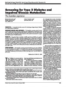 Screening for Type 2 Diabetes and Impaired Glucose ... - Diabetes Care