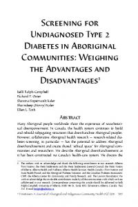 Screening for Undiagnosed Type 2 Diabetes in ... - Pimatisiwin