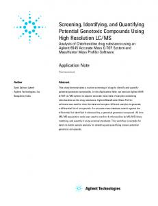Screening, Identifying, and Quantifying Potential Genotoxic ... - Agilent