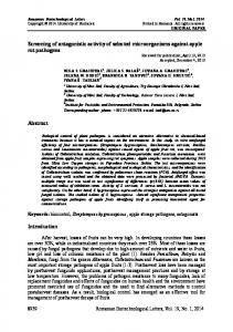 Screening of antagonistic activity of selected microorganisms against ...
