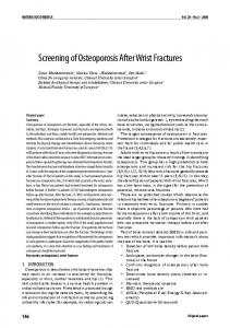 Screening of Osteoporosis After Wrist Fractures