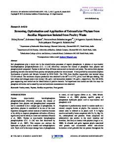 Screening, Optimization and Application of Extracellular Phytase from ...