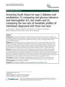 Screening South Asians for type 2 diabetes and ... - Springer Link