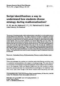 Script identification: a way to understand how students choose