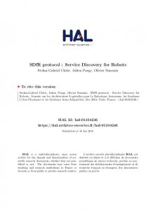 SDfR protocol : Service Discovery for Robots - Hal