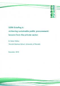 SDRN Successful Business and Procurement Briefing - Sustainable ...