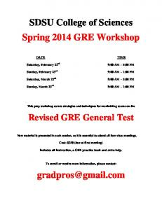 SDSU College of Sciences Spring 2014 GRE Workshop Revised ...