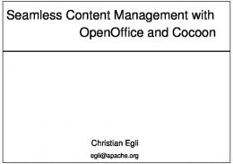 Seamless Content Management with OpenOffice and Cocoon