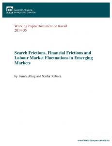 Search Frictions, Financial Frictions and Labour ... - Bank of Canada