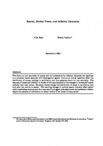 Search, Market Power, and Inflation Dynamics - RePEc