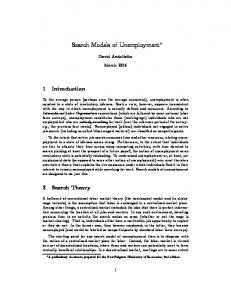 Search Models of Unemployment - Sfu