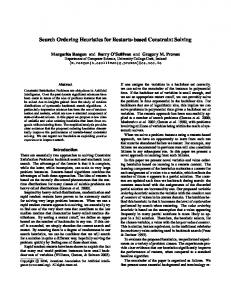 Search Ordering Heuristics for Restarts-based ... - Computer Science