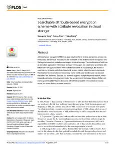 Searchable attribute-based encryption scheme with attribute ... - PLOS