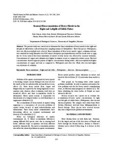 Seasonal Bioaccumulation of Heavy Metals in the Right and Leftgills ...