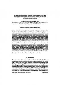 SEASONAL CHANGES IN ARSENIC CONCENTRATIONS AND ...