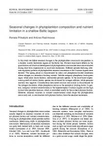 seasonal changes in phytoplankton composition and nutrient limitation ...