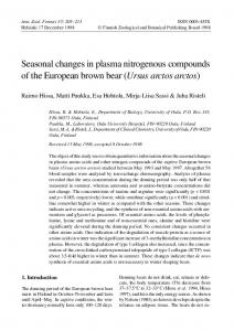 Seasonal changes in plasma nitrogenous compounds of the ...