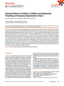 Seasonal Patterns of Asthma in Children and