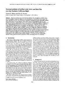 Seasonal patterns of surface wind stress and ... - Wiley Online Library