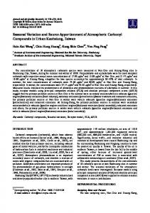 Seasonal Variation and Source Apportionment of Atmospheric ...