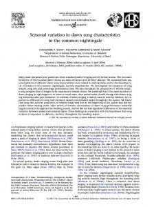 Seasonal variation in dawn song characteristics in the common ...
