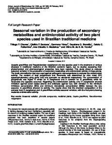 Seasonal variation in the production of secondary metabolites and ...