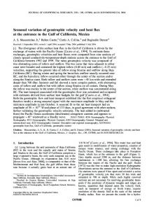 Seasonal variation of geostrophic velocity and ... - Wiley Online Library
