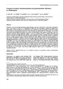Seasonal variation of photosynthesis and photosynthetic efficiency in ...