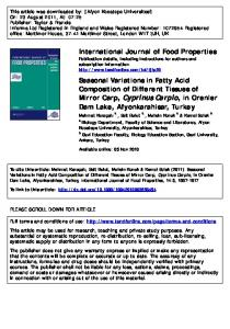 Seasonal Variations in Fatty Acid Composition of ...