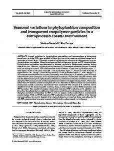Seasonal variations in phytoplankton composition and transparent ...